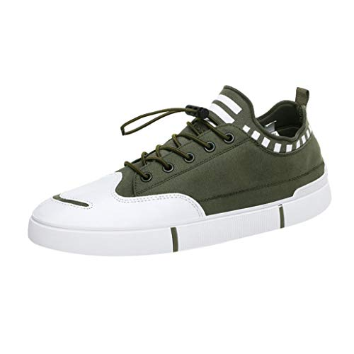 Dream_mimi Men's Fashion Boards Shoes Korean Edition Leisure Permeable Student Shoes Walking Shoes Slip-On Running Soft Army Green