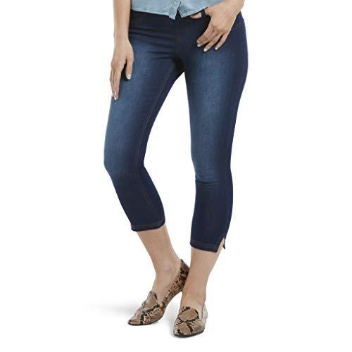 (HUE Women's Ultra Soft Denim Jean Capri Leggings, Slit Hem/Ink Wa, Large)