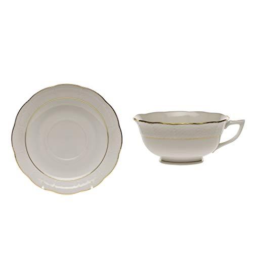 Herend Golden Edge Porcelain Tea Cup and Saucer