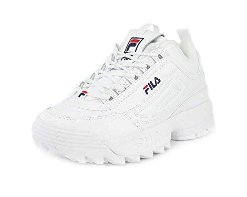 Fila Womens Disruptor II Premium White Navy Red Sneaker - 8.5