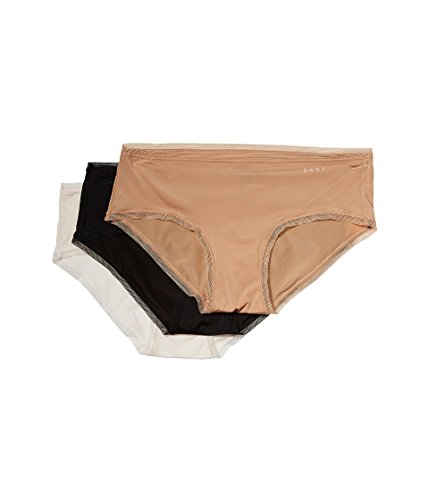 DKNY Intimates Women's Three Pack Litewear Hipster Glow/Black/Vanilla X-Large