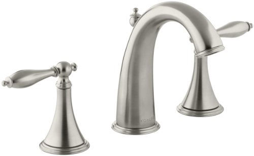 Vibrant Brushed Nickel Finial (KOHLER K-310-4M-BN Finial Traditional Widespread Lavatory Faucet, Vibrant Brushed)