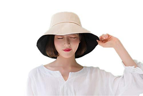 Women's UV Protection Summer Sun Hat Foldable Broad Brim with Strap 21-24inch (Beige+Black), Medium