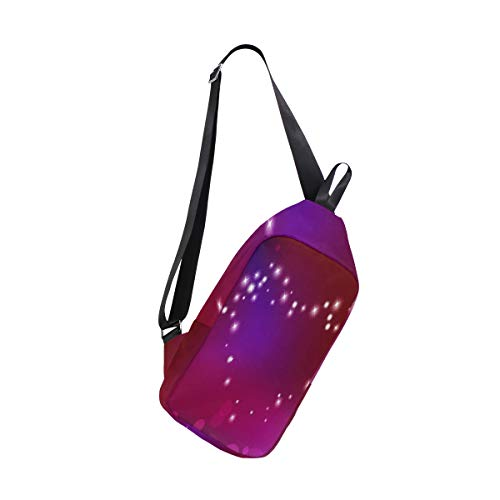 Sling Bag Heart Made Of Sparkles Mens Chest Shoulder Backpacks Crossbody School ()