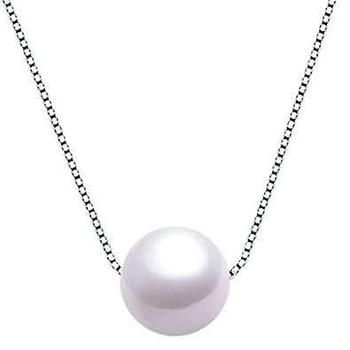B.Z La Vie Bijoux Femme Collier Perle Nacre d eau Douce 9-10mm Argent 5a7e164b538f