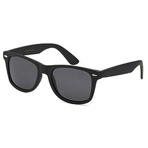 Sunglasses Classic 80's Vintage Style Design (Black Matte, Polarized)