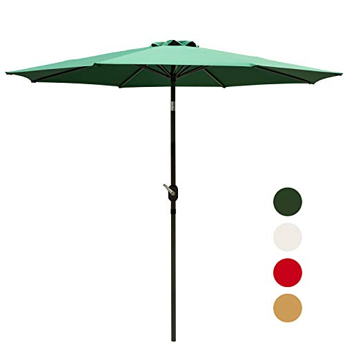 Outdoor Basic 9 Ft Patio Umbrella Aluminum Market Table Umbrella with Button Tilt and Crank Lift Green
