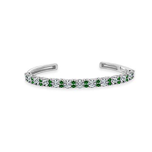 Diamonbliss Sterling Silver Created Gemstone Cuff Bracelet - Emerald,Small