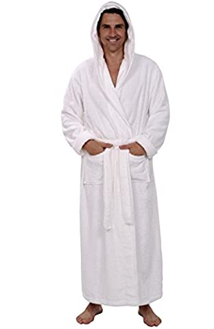 Alexander Del Rossa Mens Turkish Terry Cloth Robe, Long Cotton Hooded Bathrobe, 3XL 4XL White - White Terry Hooded Cover Up