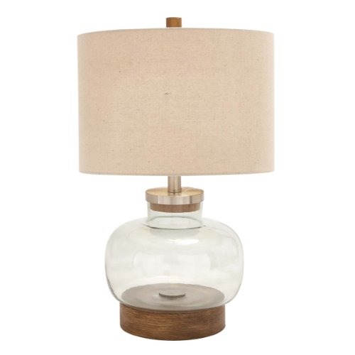 Urban Designs Handcrafted Custom Fillable Glass Table Lamp with Jute Shade, 23