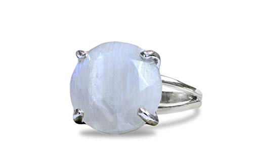 Anemone Jewelry Exquisite June Birthstone Ring - 15CT Moonstone Ring with 925 Sterling Silver Band [Other Gemstone Cuts Available] - Moonstone Jewelry for All Occasions [Free Fancy Gift Box]