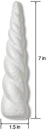 FloraCraft SmoothFōM 4 Piece Unicorn Horn 1.5 Inch x 7 Inch White