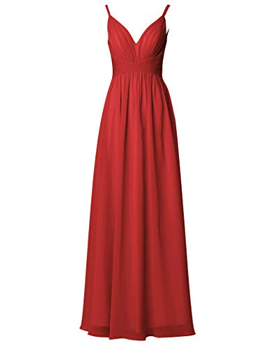 Kleider Brautjungfernkleider Hochzeit V Chiffon Ausschnitt Damen Rot A Lang Abendkleider Rückenfrei Ballkleider Linie azvn1wPvq