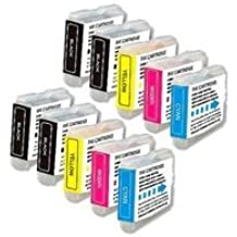 Compatible with Brother LC51 10-Set Ink Cartridges: 4 Black & 2 each of Cyan / Magenta / Yellow