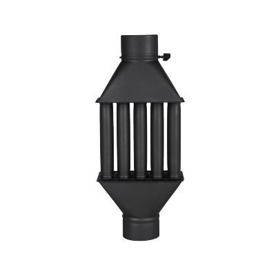 Chimney Fireplace Flue Heat Exchanger/Hot Air Exchanger, Exhaust Gas Cooler Black, Diameter 130 mm, 5 Pipes with Damper Energy Economy