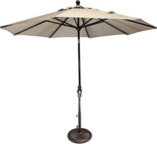 Treasure Garden 9' ft Collar Tilt Umbrella (Khaki) ()