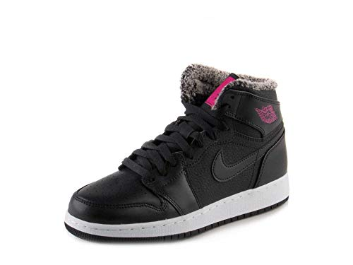 Jordan Air 1 Retro High GG Big Kids Shoes Black/Deadly Pink/White 332148-014 (6.5 M US)