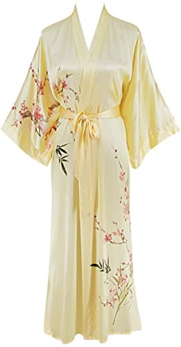 - Ledamon Women's 100% Silk Kimono Long Robe - Classic Colors and Prints Enclosed in an Elegant Gift Box (Light Yellow)