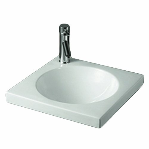 - Whitehaus WHKN4061-WH Isabella Square Drop-In Lavatory Basin with Integrated Round Bowl Less Overflow, White
