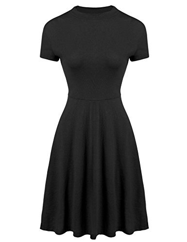 Meaneor Women Casual Short Sleeve Mock Neck Knit Tunic Dress Black M by Meaneor (Image #1)