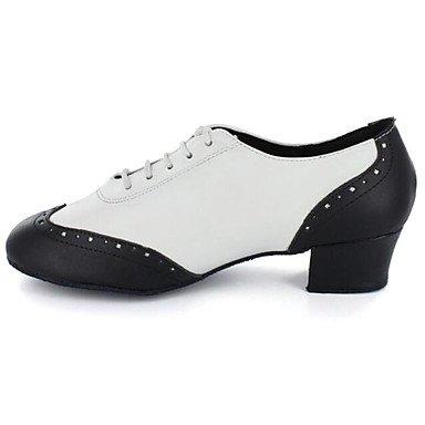 Silencio @ hombre zapatos de baile Latina/Jazz/Dance Sneakers/grifo/moderno Chunky talón negro piel (parte inferior) negro y blanco