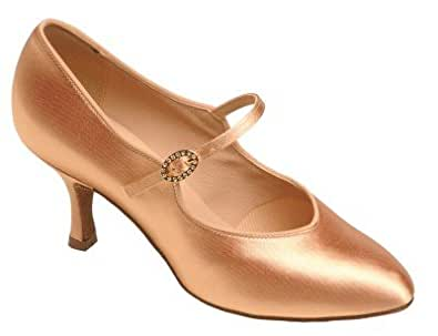 """1012 Ladies' Court Shoe with a 2.0"""" Contour Heel in Flesh Satin"""