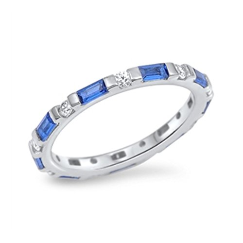 Blue Apple Co. 3mm Full Eternity Stackable Engagement Band Ring Baguette Simulated Sapphire Round CZ 925 Sterling Silver