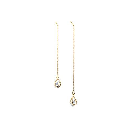 - Zirconia Waterdrop Dangle Ear Thread Long Line Teardrop Pendant Eardrop Girls Earring Jewelry (Gold)