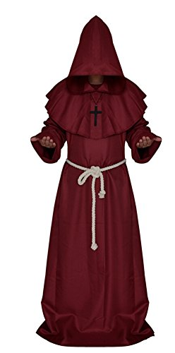 Medieval Monk Robe Cosplay Halloween Hooded Cape Costume Cloak Red Small]()
