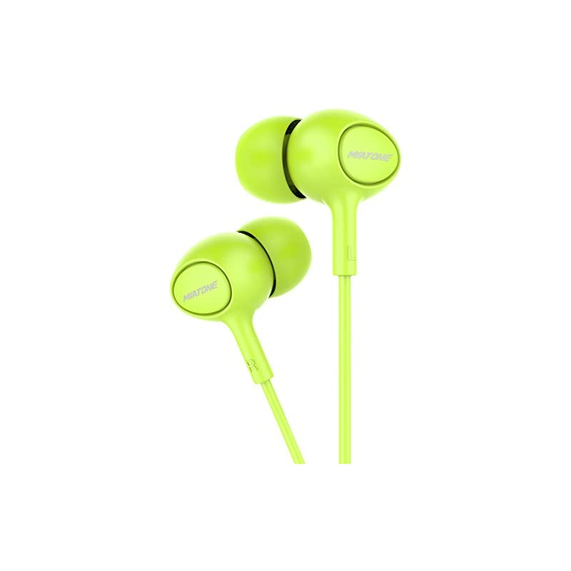 Earbuds with Microphone, MIATONE in-Ear Ear Bud Headphones Dynamic Crystal Clear Sound, Ergonomic Comfort-Fit Earphones - Green