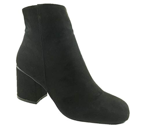 Ladies Fashion Faux Suede Square Toe Ankle Boots Side Zip Block Heel Black Size 3-8