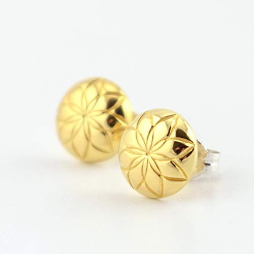 Domed Flower Pattern Brass Circle Stud Earrings - Brass Front with Sterling Silver - Domed Button Earrings