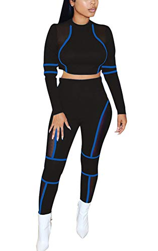 Women Two Piece Outfits - Long Sleeve Sheer Mesh Crop Top Skinny Pants Matching Set Jumpsuit Blue S