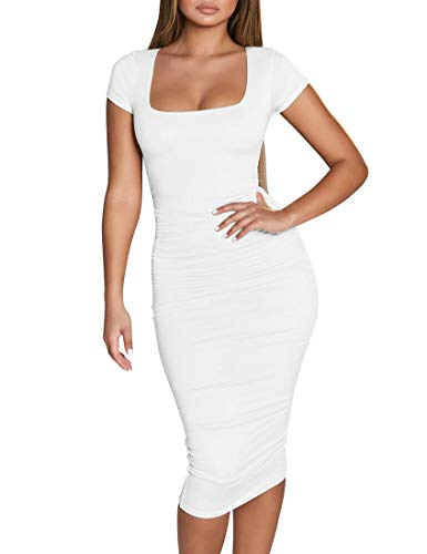 BORIFLORS Women's Casual Basic Ruched Bodycon Dresses Short Sleeve Sexy Club Midi Dress,Small,White