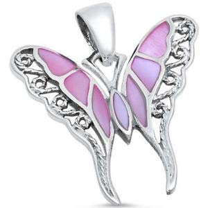- Pink Pearl Filigree Butterfly 925 Sterling Silver Pendant - Jewelry Accessories Key Chain Bracelet Necklace Pendants