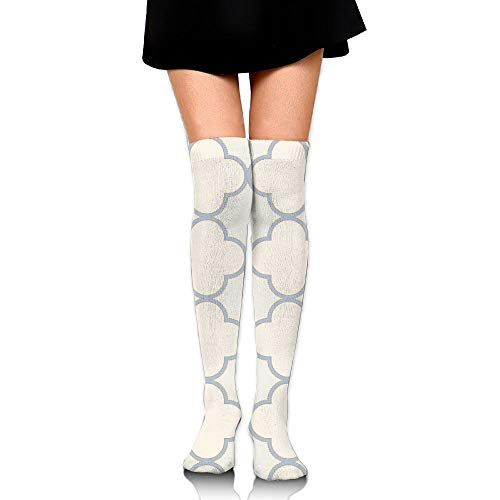 HFJDLSK Knee Long Socks Tube Thigh-High Sock Stockings - Creamy(4304) Print for Girls & Womens ()