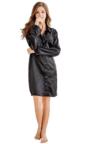 Shirt Button Silk Front - Women's Sleep Shirt, Satin Pajama Top Long Sleeve Nightshirt from Tony & Candice (XL=US (16-18), Black)