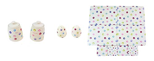 (12 PIECE PRINTED SPOTS DOTS TEA SUGAR CANISTERS SALT PEPPER SHAKERS PLACEMATS COASTERS)