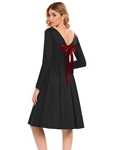 Acevog Balançoire Plissée À Manches Longues Vintage Femmes Cocktail Robe Noire