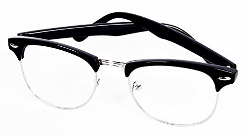 Revive Eyewear Women's 60's Style Retro Geek Style Black Frame/ Clear Lens Non Polarized Glasses - Geek Glasses Uk