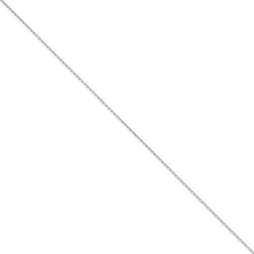 14K White Gold 1.45mm Solid Diamond Cut Cable Chain Anklet Size ()