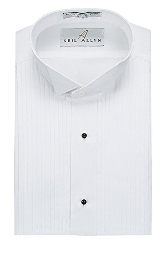 Neil Allyn Mens Tuxedo Shirt Poly/Cotton Wing Collar 1/4 Inch Pleat (16 - 32/33) (16 Tuxedo)