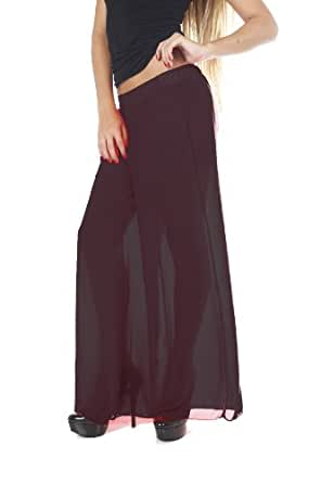 Full Length Long Chiffon Wide Pants With Shorts Linning Under Black Small