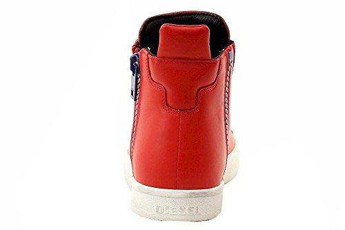 Diesel Heren Zip-round S-nentish Denim Fashion Sneaker Vurig Rood / Mazarine Blauw