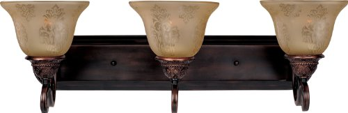 Maxim 11232SAOI Symphony 3-Light Bath Vanity, Oil Rubbed Bronze Finish, Screen Amber Glass, MB Incandescent Incandescent Bulb , 60W Max., Dry Safety Rating, Standard Dimmable, Metal Shade Material, Rated (Symphony 3 Bulb)