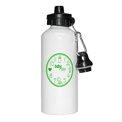 Style In Print Green Baby Clock Feed Cnahge Bath Love Baby Time Aluminun White Water Bottle