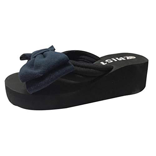 Mysky Fashion Women Summer Pure Color Bowknot Bathroom Slides Ladies Casual Simple Beach Flip Flops Slippers Blue