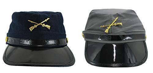 Civil War Replica Kepi Hat Navy Gray Confederate Union Reenactment Accessory Set