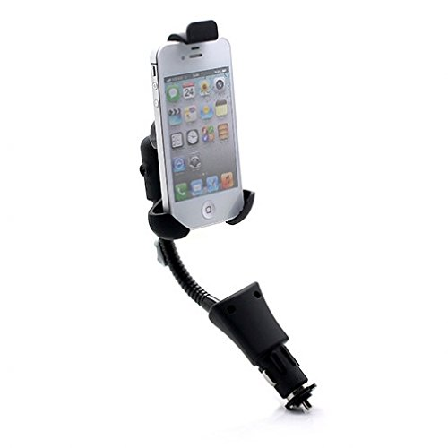 Rotatable Car Lighter Socket Holder with USB Charging Port for iPhone 6 6S, Plus, 5S 5C 5 4S - Samsung Galaxy S6, S6 Edge, S5, S4, S3, S2, Mini, Active - Galaxy Note 5 4 3 2 Edge - LG G2 G3 G4 V10