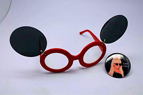 Button Pin of Lady Gaga Wearing Mouse Ear Flip Up Red Clear Lens Sunglasses #LU01 (Flip Lady Gaga Up Sunglasses)